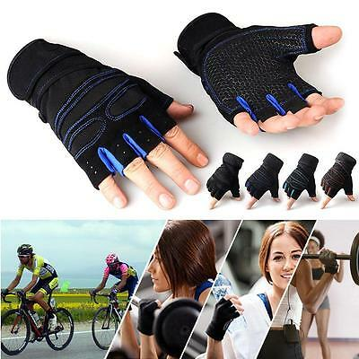 Weight Lifting Gym Gloves Workout Wrist Wrap Sports Exercise Training Fitness FA
