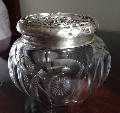 Sterling Silver Top Victorian Crystal Vanity Jar circa 1890 Antique, Collectable