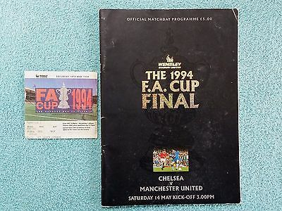 1994 - FA CUP FINAL PROGRAMME + MATCH TICKET - CHELSEA v MANCHESTER UTD