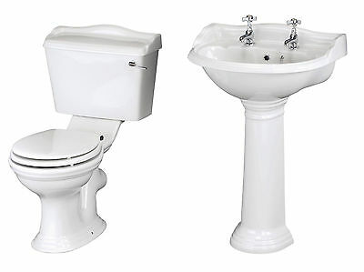 Traditional Bathroom Basin Sink and Toilet WC Cistern Pan With Seat Set Suite