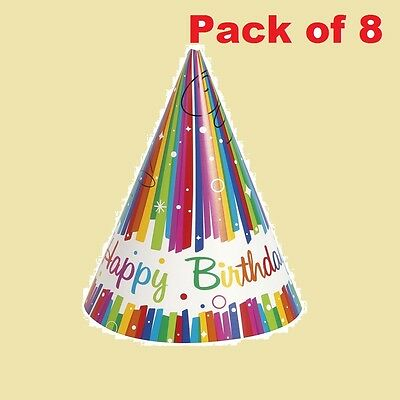 Birthday Party Hats Rainbow Cone Shaped Fun Kids Accesory Decoration Pack of 8
