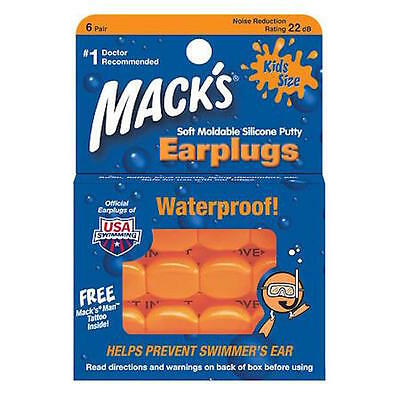 2Pk Mack's Soft Moldable Silicone EarPlugs-Kids Size-6 Pair