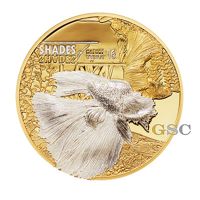 Cook Islands 2016 5$ silver coin Fighting Fish Shades of Nature series silver co