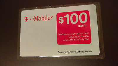 T Mobile $100 Prepaid Refill Card - Free Shipping - Brand New & Sealed