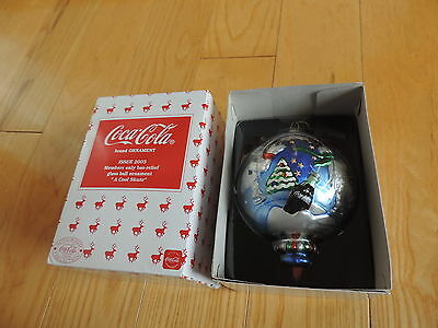 Coca Cola Christmas Ornament Bears A Cool Skate Members Only 2003 Bas Relief