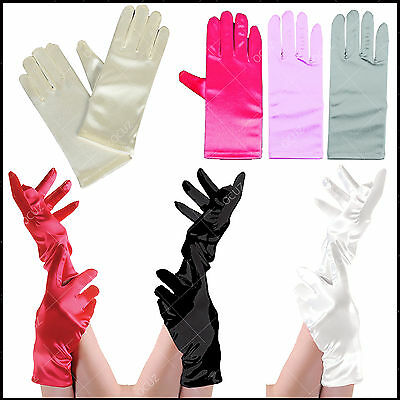 Ladies Womens Girls Satin Short Gloves Gorgeous Style Fancy Night Party Dress ■