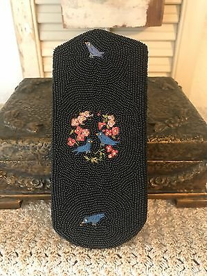 Antique French Eye Glass Case Micro Beaded And Birds And Flowers For Handbag