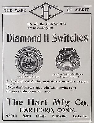 Vintage 1905 Ad(F11)~Hart Mfg. Co. Hartford, Conn. Diamond H Switches