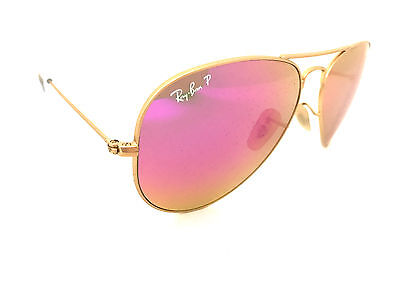 Ray-Ban Aviator RB3025 112/1Q 58mm Gold Frame, Polarized Cyclamen Flash Lenses