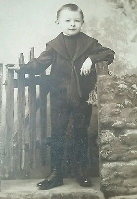 Stylish boy wearing black in adult-like  pose Antique cabinet card photo  Named
