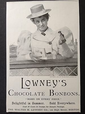 Antique 1895 Ad (1800-12)~Lowney's Chocolate Bonbons. High St. Boston