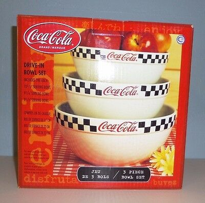 """Coca Cola 3 Piece Drive In Serving Bowl Set """"free Shipping"""""""