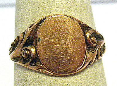 Victorian Gold Filled Signet Initial Ring Size 8.75   2.2 Grams