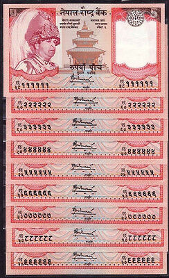 Nepal Rupees 5 Set of 9 SOLID Serial Notes 111111 to 999999 UNC