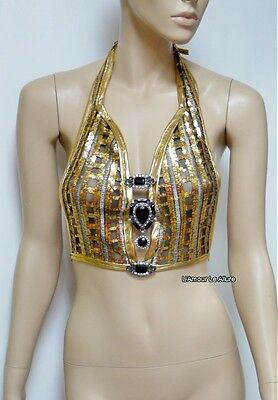 Gold Sequin Spandex Mesh Halter Top Crop Top Dance Rave Bra One Size Fits Most