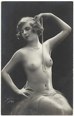 1920 French NUDE Photograph - Youthful Blonde, Lean Body & Perky Breasts