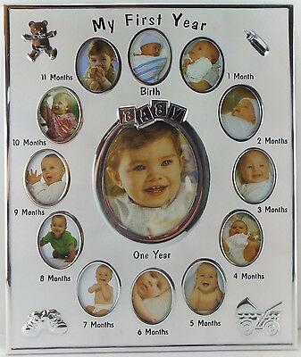 My First Year Baby Photo Frame Silver and White 10x12 Hang or Stand