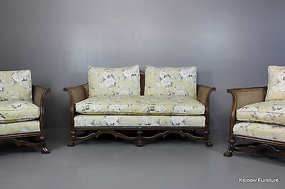 Early 20th Century Antique Bergere Suite Sofa 2 Armchairs