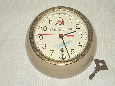 Russian Submarine/Maritime Wall Clock w/Key Working Vostock Made in Russia GC NR