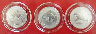 Australia complete Shark coin set: Great White, Hammerhead, Tiger 1/2 Oz Silver