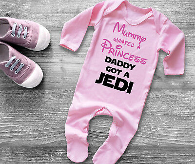 Star Wars inspired Mummy wanted a Princess Daddy got a Jedi baby pink rompersuit