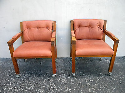 Pair of Vintage Mid-Century Modern Oak Side by Side Chairs 5456