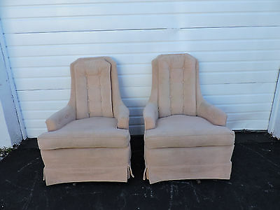Pair of Tall Vintage Mid-Century Tufted Living Room Swivel Chairs 6569