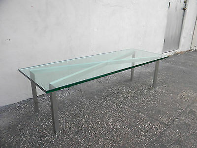 Long Mid Century Modern  Aluminum and Glass top Coffee Table  6087