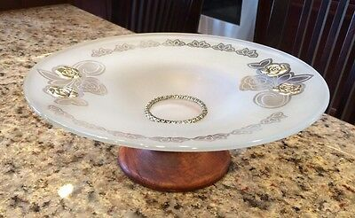 Vintage Frosted Glass Compote Dish With Sterling Silver Rose Accents Wood Base
