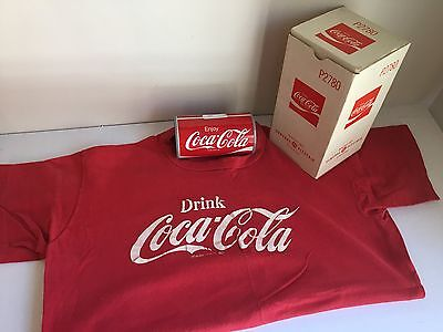"Coca-Cola Can Metal Radio~ 1970's~with Classic ""Drink Coca-Cola"" T-Shirt"