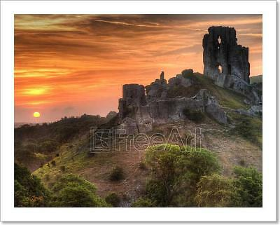 Castle Ruins Landscape With Bright Art Print Home Decor Wall Art Poster - D