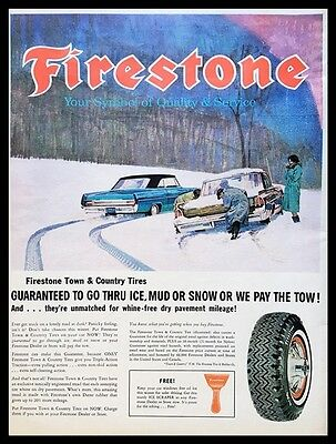 1963 FIRESTONE WINTER TIRE Vintage Ad ~ Town & Country Tires ~Snow