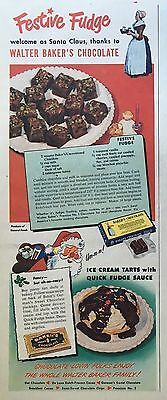 1949 BAKER'S CHOCOLATE Vintage Ad - w/Festive Fudge recipe! -Santa!