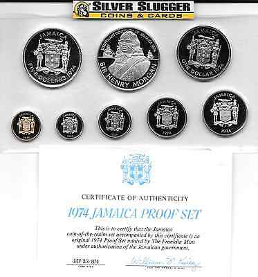 1974 Jamaica 8 Coin Proof Set 1.87 oz of silver with Box and COA