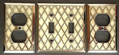 Vintage Daimond Pattern Faux Mother of Pearl Switch Plate and Two Outlet Covers