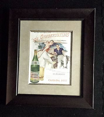 1937 ORIGINAL Magazine Ad FRAMED Canada Dry Ginger Ale Man & Woman Sailing 2956