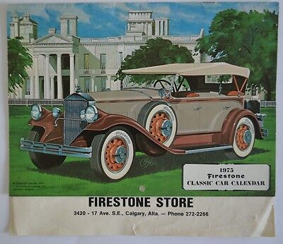 Firestone Tires 1975 Classic Car Calendar 1931 Pierce Arrow Cadillac Duesenberg
