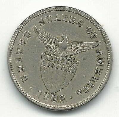 Very Fine 1903 United States Philippines 5 Centavos Coin-May628