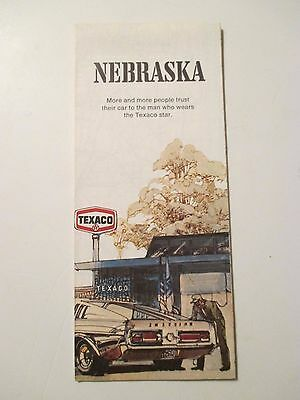 Vintage 1971 TEXACO NEBRASKA Oil Gas Service Station Road Map
