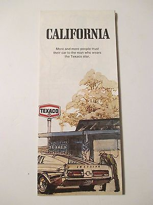 Vintage 1972 TEXACO CALIFORNIA Oil Gas Service Station Road Map