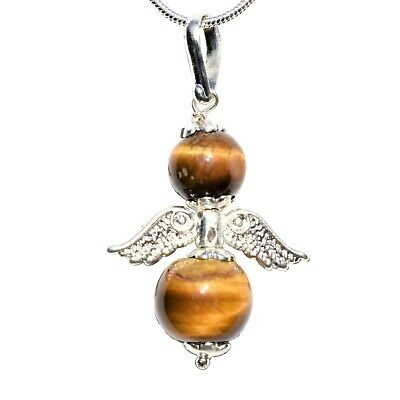 "Charged Tiger Eye Crystal Angel Pendant + 20"" Silver Chain REIKI Energy!"