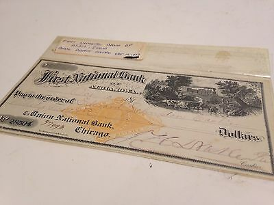 1877 First National Bank of Albia, Iowa Check Union National Bank Chicago Draft