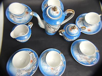 Vintage Blue Dragon Tea Set with Geisha Head Made in Japan 40's