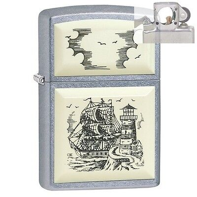 Zippo 29397 Scrimshaw Ship Lighthouse Lighter with PIPE INSERT PL