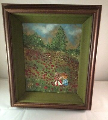Enameled Copper Picture in Frame signed by Shirley Bierman CLOISONNÉ ENAMEL