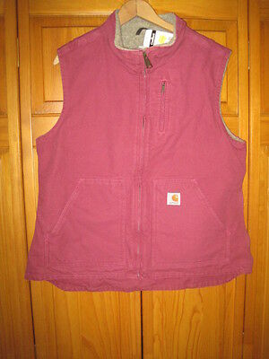 Carhartt insulated work vest women's L magenta  NWT NEW lined jacket