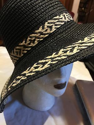 Vintage Black Straw Wide Brim Hat