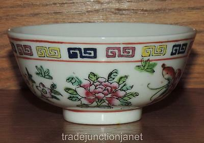 Vintage Acf Hong Kong Japanese Porcelain Ware Hand Painted Floral Footed Bowl