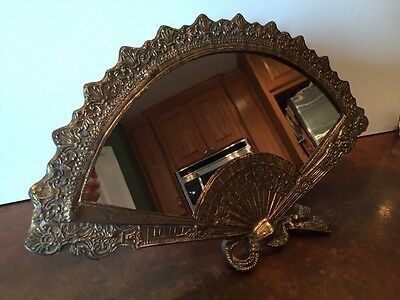 Vintage Large Brass Fancy Filegree Fan Frame Mirror Antique