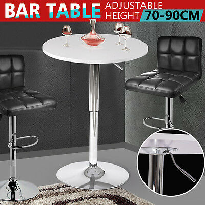 Adjustable White Round Pub Bar Bistro Table Desk Indoor Outdoor Patio Restaurant